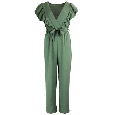 JAIMY Ruffle deep v jumpsuit green