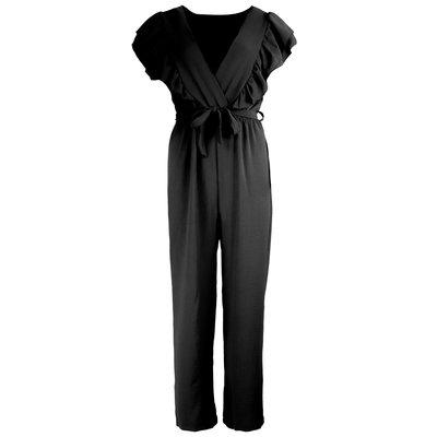 JAIMY Ruffle deep v jumpsuit black