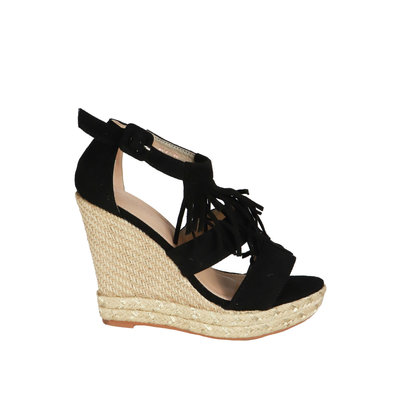 JAIMY Fringe wedge black