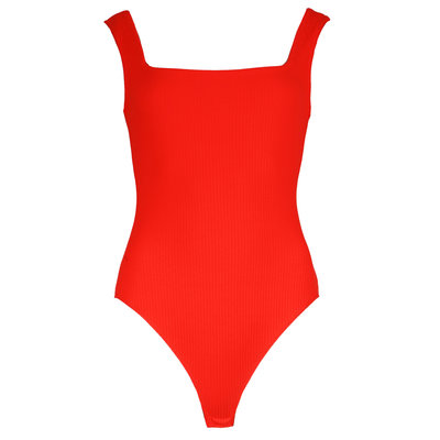 JAIMY Square neck ribbed body red