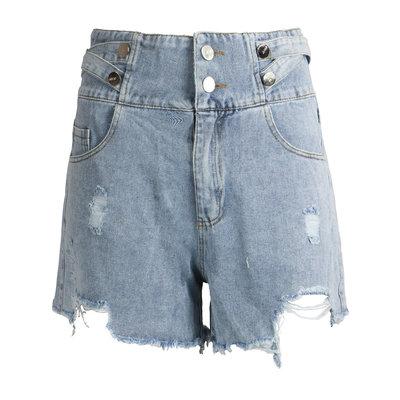 JAIMY High waisted button detail denim shorts