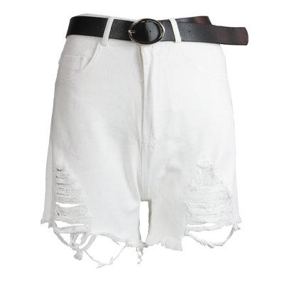 JAIMY Ripped belted denim shorts white