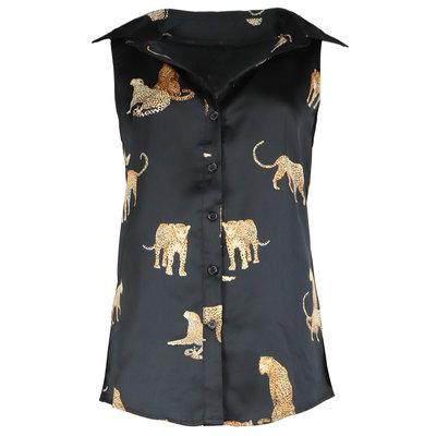 JAIMY Leopard detail sleeveless blouse black