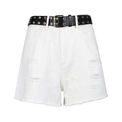 JAIMY Belted denim shorts white