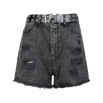 JAIMY Belted denim shorts black