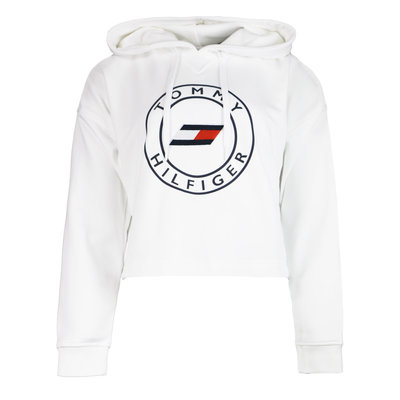 TOMMY HILFIGER Relaxed round graphic hoodie optic white