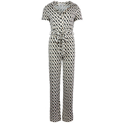 JAIMY Emery chain print short sleeve jumpsuit beige