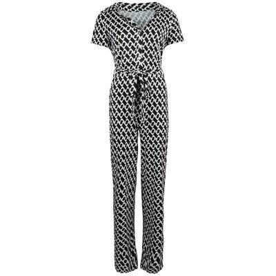JAIMY Emery chain print short sleeve jumpsuit black