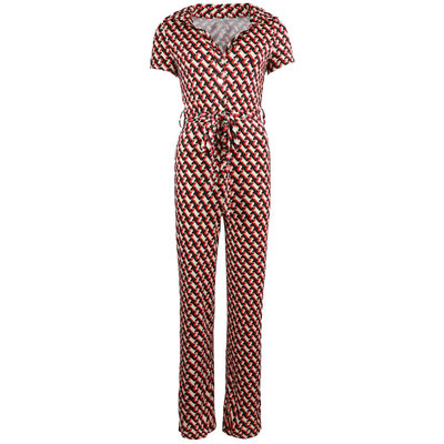 JAIMY Emery chain print short sleeve jumpsuit red
