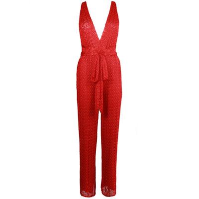 JAIMY Multiple ways sparkle jumpsuit red