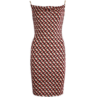 JAIMY Printed chain strap dress red