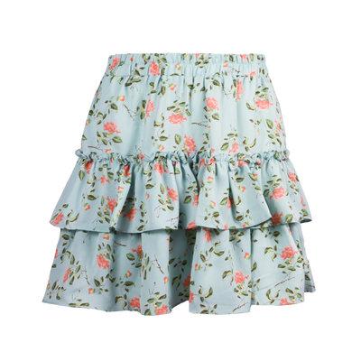 JAIMY Tiana flower print ruffle skirt light blue