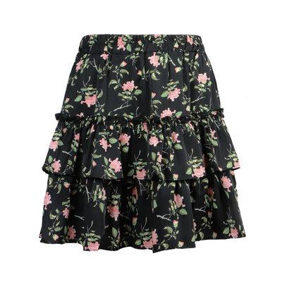 JAIMY Tiana flower print ruffle skirt black
