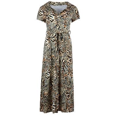 JAIMY Short sleeve maxi travel dress mixed animal print