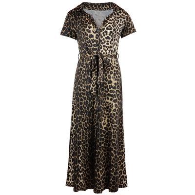 JAIMY Short sleeve maxi travel dress leopard print