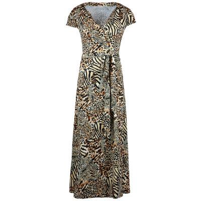 JAIMY Maxi travel short sleeve wrap dress mixed animal print
