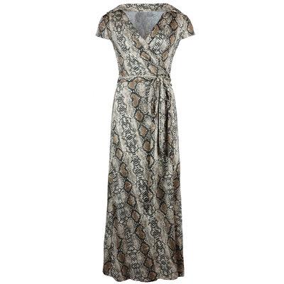 JAIMY Maxi travel short sleeve wrap dress snake print