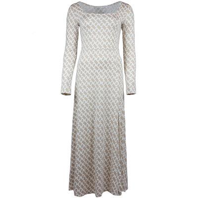 JAIMY Square neck chain travel maxi dress beige/white