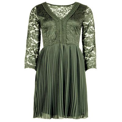 JAIMY Carmen plisse detail dress army green