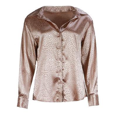 JAIMY Satin leopard blouse pink
