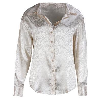 JAIMY Satin leopard blouse white