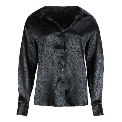 JAIMY Satin leopard blouse black