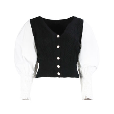 JAIMY Puff sleeve cropped cardigan