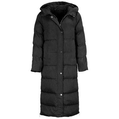 JAIMY The zipper detail long puffer jacket black