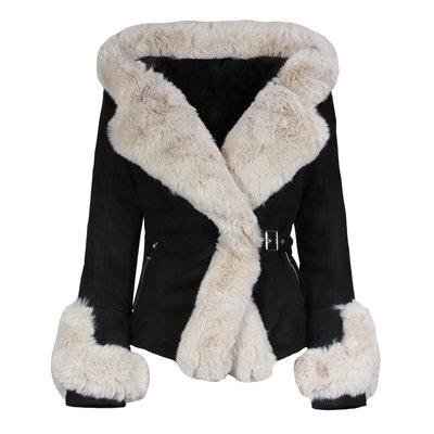 JAIMY The lammy coat black beige
