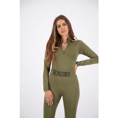REINDERS Body turtleneck zipper long sleeves dark olive green