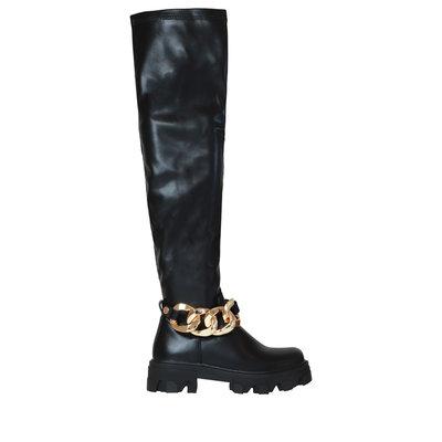 JAIMY The chain overknee boots black