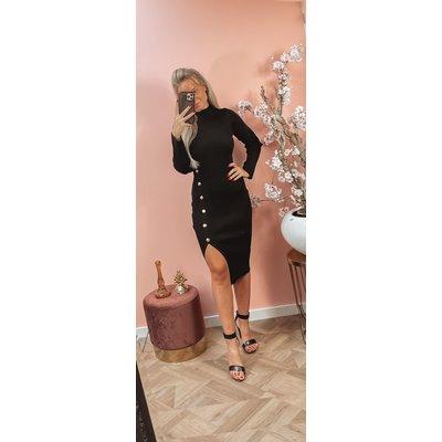 JAIMY Jaylin gold button dress black