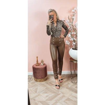 JAIMY Clara button leather pants brown