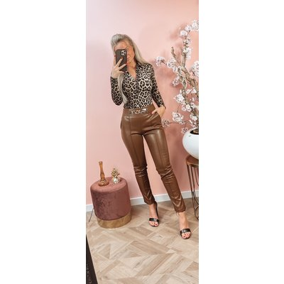 JAIMY Musthave leather chain pants brown