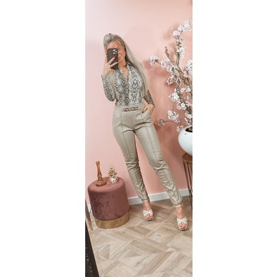 JAIMY Musthave leather chain pants beige