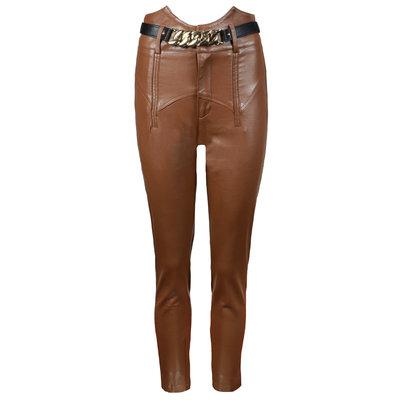 JAIMY High waisted chain belt leather pants camel