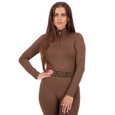 REINDERS Body turtleneck zipper long sleeves dark brown