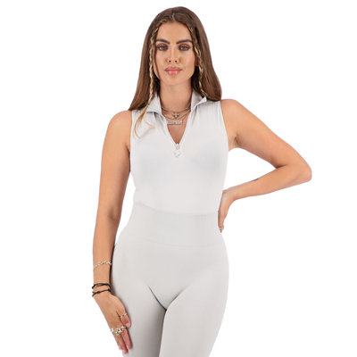 REINDERS Body turtleneck zipper short sleeve quiet grey