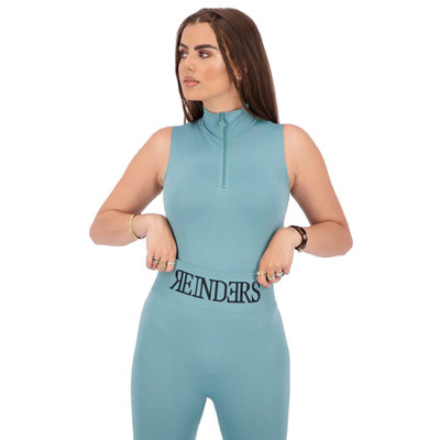 REINDERS Body turtleneck zipper short sleeve mineral blue