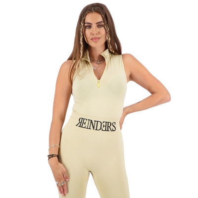 REINDERS Body turtleneck zipper short sleeve creme