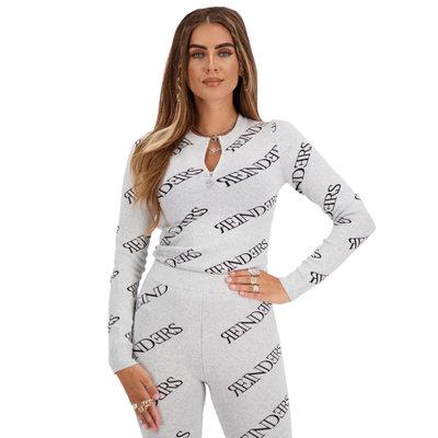 REINDERS Top zipper all over print quiet grey