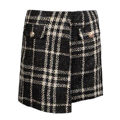 JAIMY Check print tweed skirt dark brown