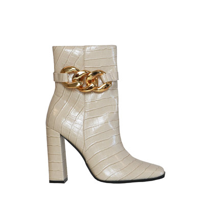 JAIMY Zoe chain detail boots beige