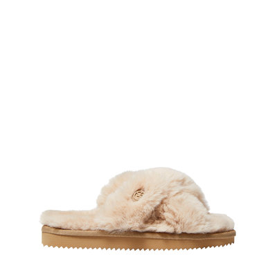 MICHAEL KORS Lala Faux Fur Slide Sandal Camel