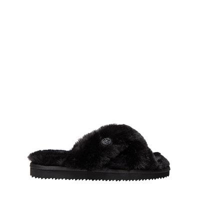 MICHAEL KORS Lala Faux Fur Slide Sandal Black