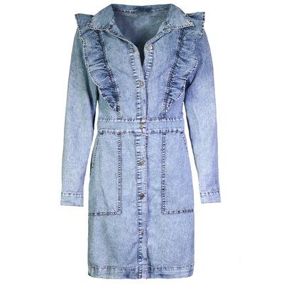 JAIMY Blake ruffle denim dress blue