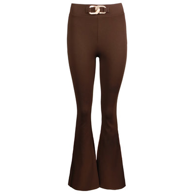 JAIMY Chain detail flared pants chocolade brown