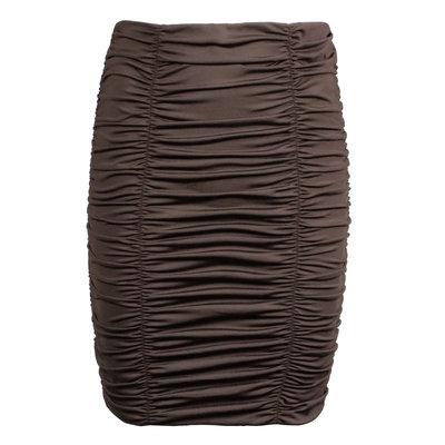 JAIMY Ruched travel skirt chocolade brown