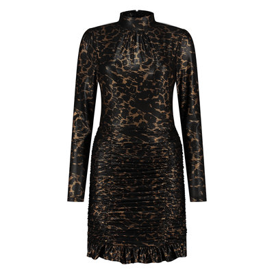 NIKKIE Leopard gold dress black
