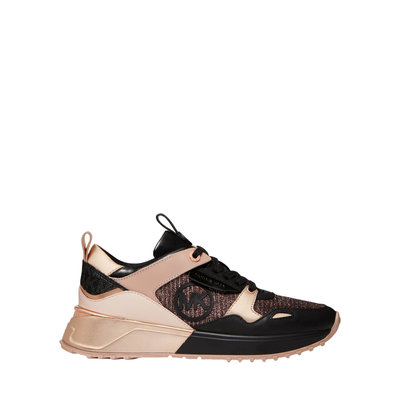 MICHAEL KORS Theo Leather and Glitter Chain-Mesh Trainer